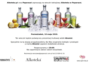 Alkoteka w Paparazzi z Absolut Vodka